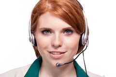 Smiling business woman callcenter agent operator isolated portrait Royalty Free Stock Photography