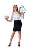 Smiling business woman with cash and clock Royalty Free Stock Image