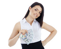 Smiling business woman with cash in hand. Stock Photo