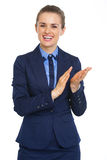 Smiling business woman clapping Stock Photos
