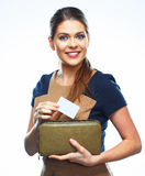 Smiling business woman with credit card. Stock Photography