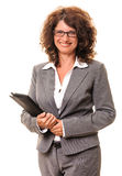Smiling business woman digital tablet pc Royalty Free Stock Images