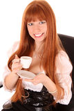 Smiling business woman drinking coffee Stock Images