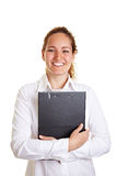 Smiling business woman embracing Royalty Free Stock Photo