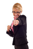 Smiling business woman fighting Stock Images