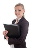 Smiling business woman with file folder Stock Photography