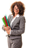 Smiling business woman with file folders Royalty Free Stock Image
