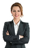 Smiling business woman with folded hands Royalty Free Stock Photo