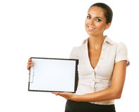 Smiling business woman with folder Stock Images