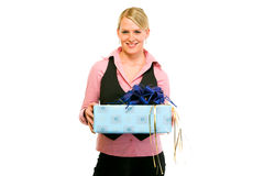 Smiling business woman with gift in hand Royalty Free Stock Image