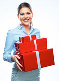 Smiling business woman with gift. Stock Photos