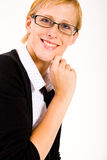 Smiling business woman with glasses stock photos
