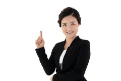 Smiling business woman with hand sign isolated on white background Stock Photography
