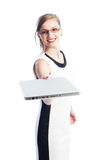 Smiling business woman handing a laptop Royalty Free Stock Photo