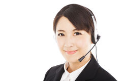 Smiling business woman with headphone Stock Photos