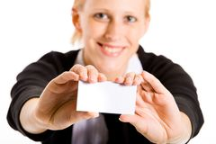 Smiling business woman with her card