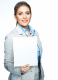 Smiling business woman hold blank board. Sign boar Stock Image