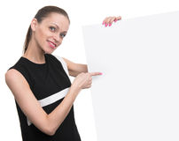 Smiling business woman hold blank card. Stock Image
