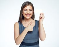 Smiling business woman hold gold credit card. Stock Image