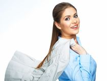 Smiling Business woman hold motion suit. White background Royalty Free Stock Photos