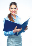 Smiling business woman hold open report folder. Royalty Free Stock Images