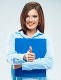 Smiling business woman hold paper folder Stock Images