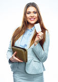 Smiling Business woman hold payment credit card and purse. Whit Stock Photo