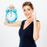 Smiling Business woman hold watch. Idea Stock Photography