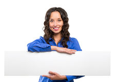 Smiling business woman hold white advertising board. White card. Royalty Free Stock Photography