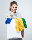 Smiling Business woman hold white shopping bag. Royalty Free Stock Photo
