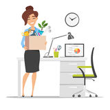 Smiling business woman holding cardboard box with work stuff at a new workplace Stock Images