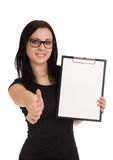 Smiling business woman holding clipboard Stock Images