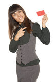 Smiling business woman holding credit card Stock Photography