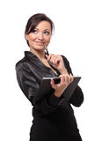 Smiling business woman holding a folder. Stock Photography