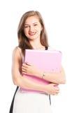 Smiling business woman holding portolio Royalty Free Stock Image