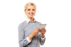 Smiling business woman holding tablet PC with Stock Photo