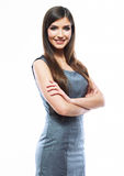 Smiling business woman isolated against white back Royalty Free Stock Images