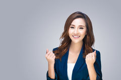 Smiling business woman. Isolated over background Stock Image