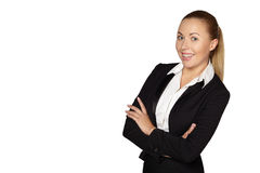 Smiling business woman, isolated Royalty Free Stock Photo