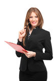 Smiling business woman isolated on white Stock Photo