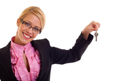 Smiling business woman keys Stock Photography