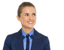 Smiling business woman looking on copy space Royalty Free Stock Photo