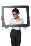 Smiling business woman looking through frame Royalty Free Stock Photography