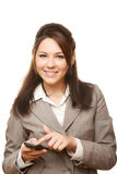 Smiling business woman with mobile phone. Isolated on white background Stock Photo
