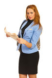 Smiling business woman with newspaper Stock Photo