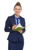 Smiling business woman with notepad Stock Photo