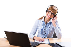 Smiling business woman in office Royalty Free Stock Image