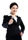 Smiling business woman with ok hand sign Stock Image