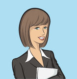 Smiling business woman with papers. Vector illustration of Smiling business woman with papers. Easy-edit layered vector EPS10 file scalable to any size without Royalty Free Stock Photography