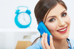 Smiling business woman on phone at office. Close up female port Stock Image